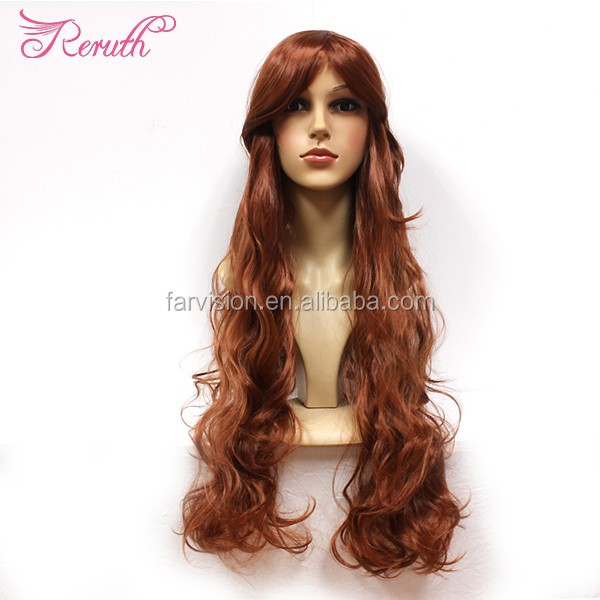Fashion color long lace front wig best selling long PET wigs