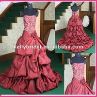 burgundy wedding dress welcome customized design