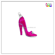 Silver and pink Enamel High-heel Shoe Jewelry Charm