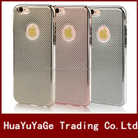 Hot selling phone case Luxury Grid electroplate TPU Soft back Cover Case For iPhone 6 6S 6Plus 6 Plus 6S Plus