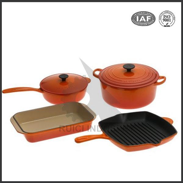 Cookware Enamel Coated Cast Iron Sets Lodge 5 Piece