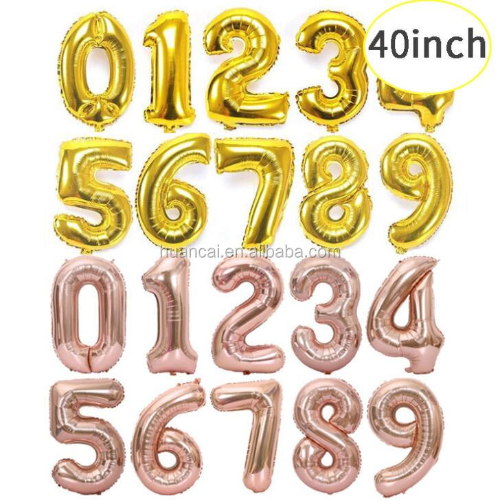 High quality Thicker big size 40inches number paty decoration foil balloons gold/silver/rose gold