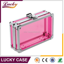 Pink Acrylic Utility Box With Combination Lock aluminum beauty case