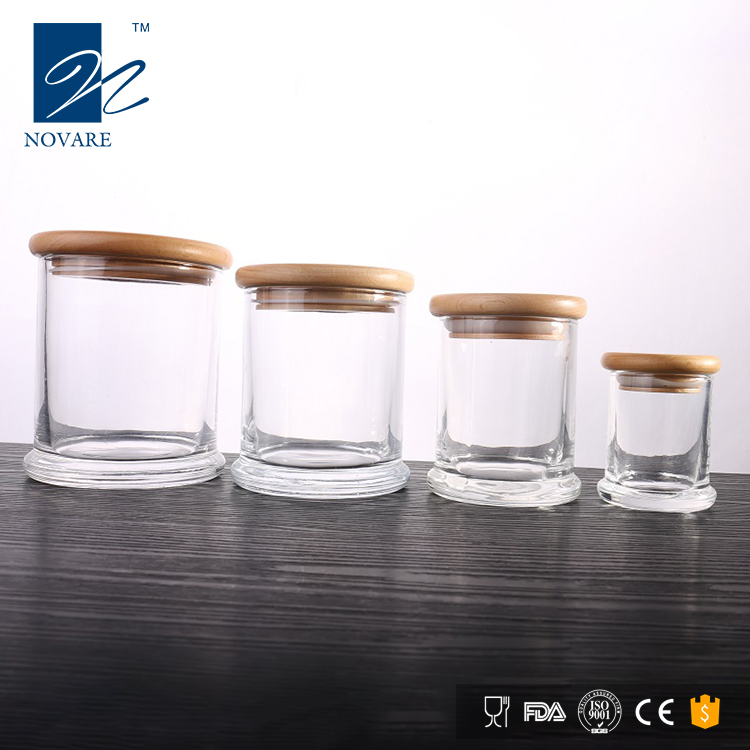 50ml Clear Glass Candle Holder Decorative Candle Jar with Wooden Lid