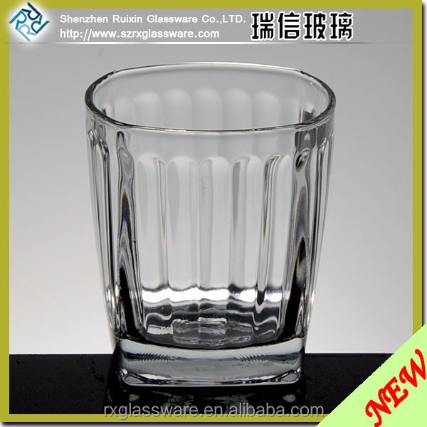 Clear Ribbed Flutted Style Beer Glass 160ml, Unique Whisky Glass Cups