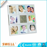 Square decoration photo frame wall clock , date and time wall clock