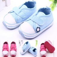 TSW3118 Cotton infant shoes cute dots flower non-slip baby toddler shoes