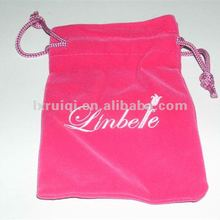 Wedding sweet soft velvet pouch with lovely logo