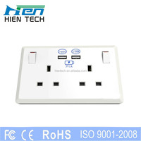 UK standard 2 usb port 2 switches decorative electrical wall socket