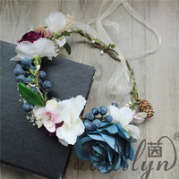 Beautiful blueberry fresh artificial headwear cute flower garland