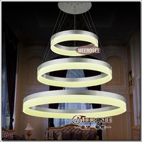 New Collection LED Chandelier Light Modern Round Ring Pendant Lighting Fixture Aluminum Acrylic Lamp