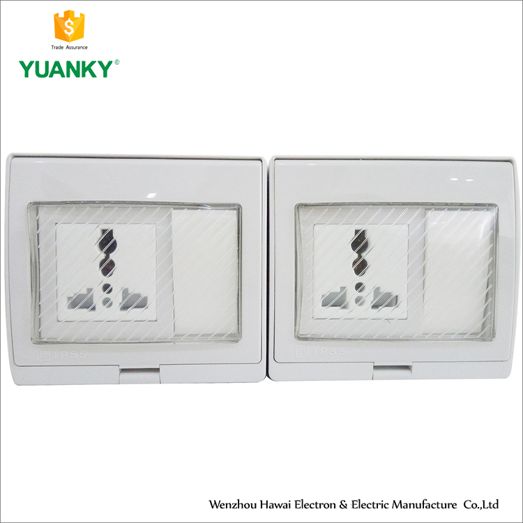 Double unit Water-proof wall switch each unit have single 3pin socket and 1gang switch
