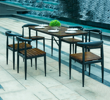 Starbucks table and chair, outdoor solid wood anti-rust dining table and chair