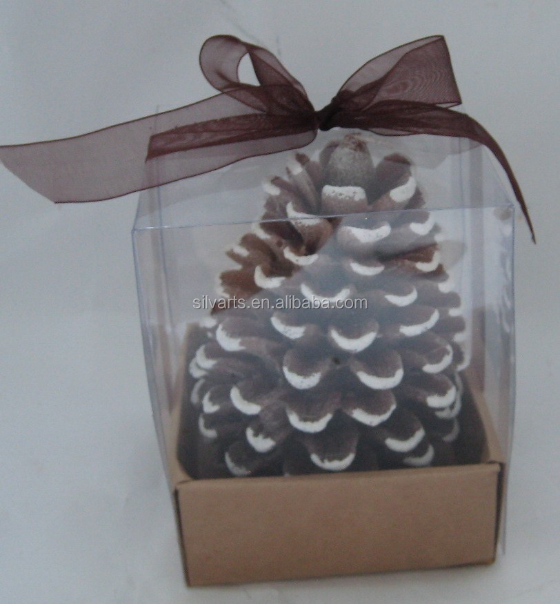 pine cone candle in different color