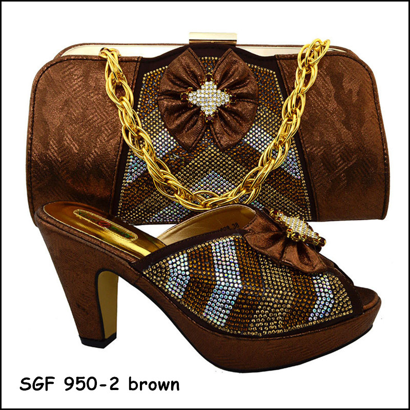 Top quality ltalian shoe and bag to match with brown color stones african woman shoe and bag set for wedding