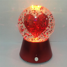 New Fashion Color Changing Glitter Night Light Bluetooth Speaker wirh Red Heart Water Globe Led Table Lamp