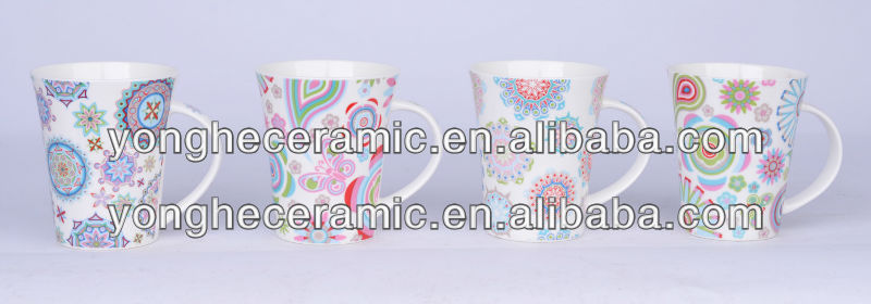 coloring printing exotic culture for 12oz V-shaped coffee drink tea cup