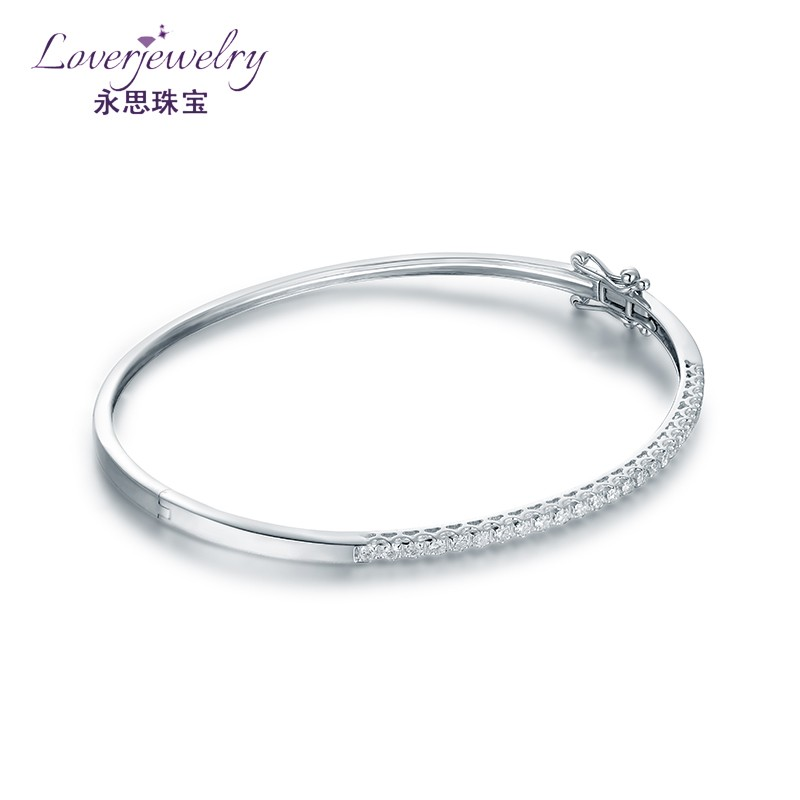 18Kt Solid White Gold Cuff Bangle Jewelry