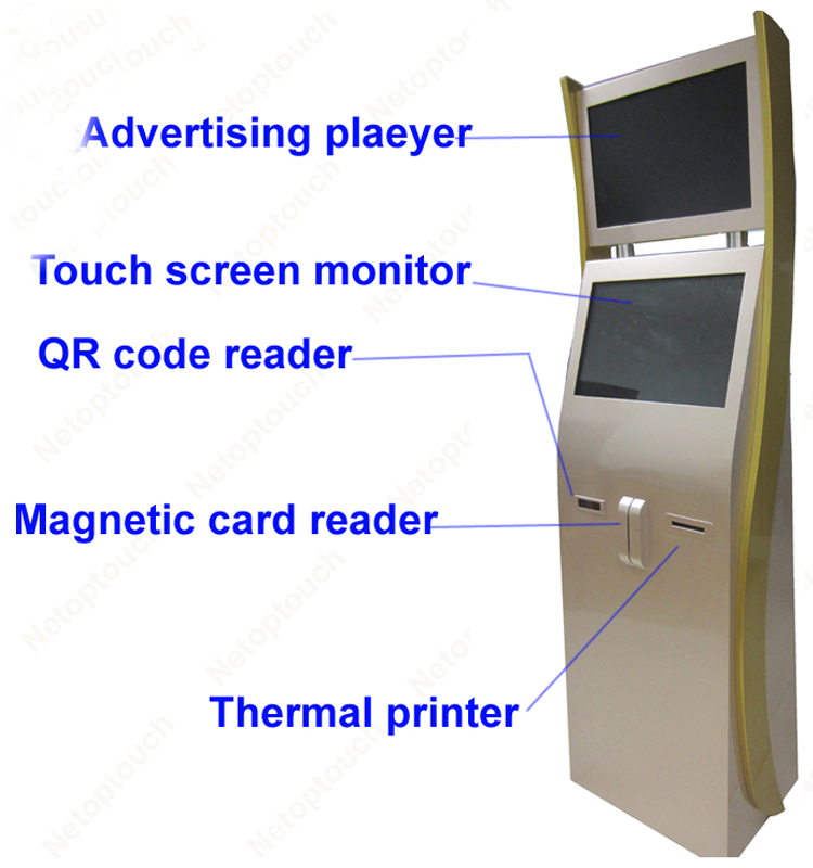 Dual touch screen kiosk terminal with touch panel