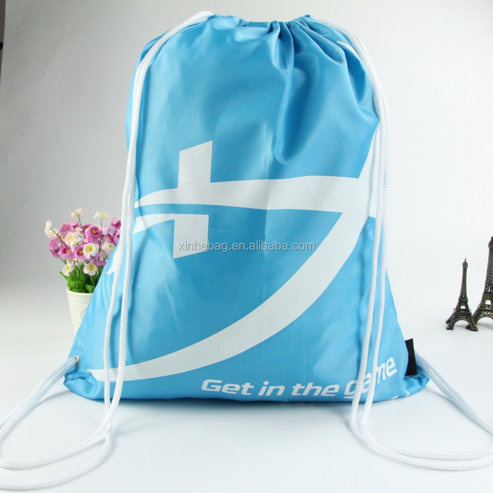 Wholesale custom logo print lightweight polyester drawstring bag/recycled nylon drawstring shopping bag