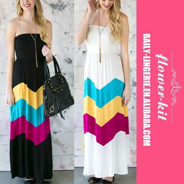Hot Fashion Sexy vestidos Women Strapless Long Maxi Beach Dress Geometric Chiffon High Waist Casual Striped Dress