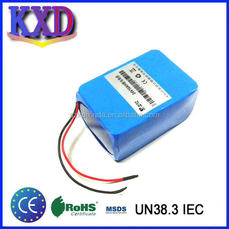 18650 lithium ion rechargeable 24v 10ah li ion battery pack