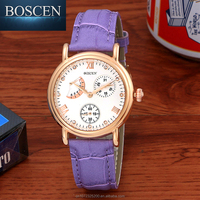 2016 BOSCEN New Styles Fashion Vogue Fancy Wrist Gift Lady Women Stainless Steel Leather Watches
