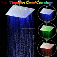 High quality 16 inch square rain shower head rainfall cheap LED shower brushed finished