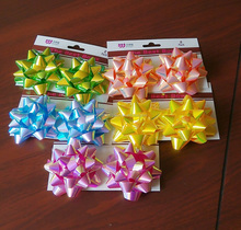 PP ribbon Star Bow/ solid color/metallic/holographic Christmas confetti star bows gift wrapping bows