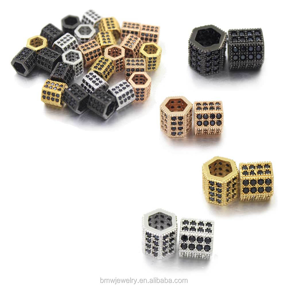 latest fashion hexagonal prism micro pave CZ copper jewelry connectors necklaces components, four colors for choice