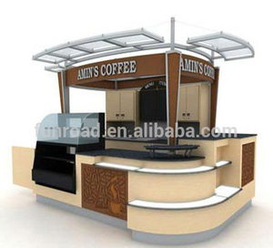 Commercial free design MDF food showcase /cafe kiosk for sale