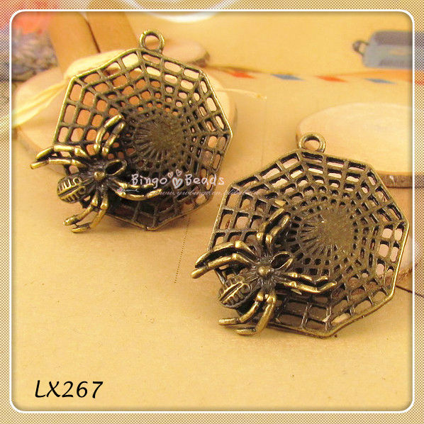 Brass Spider on Web Charms 28x28mm