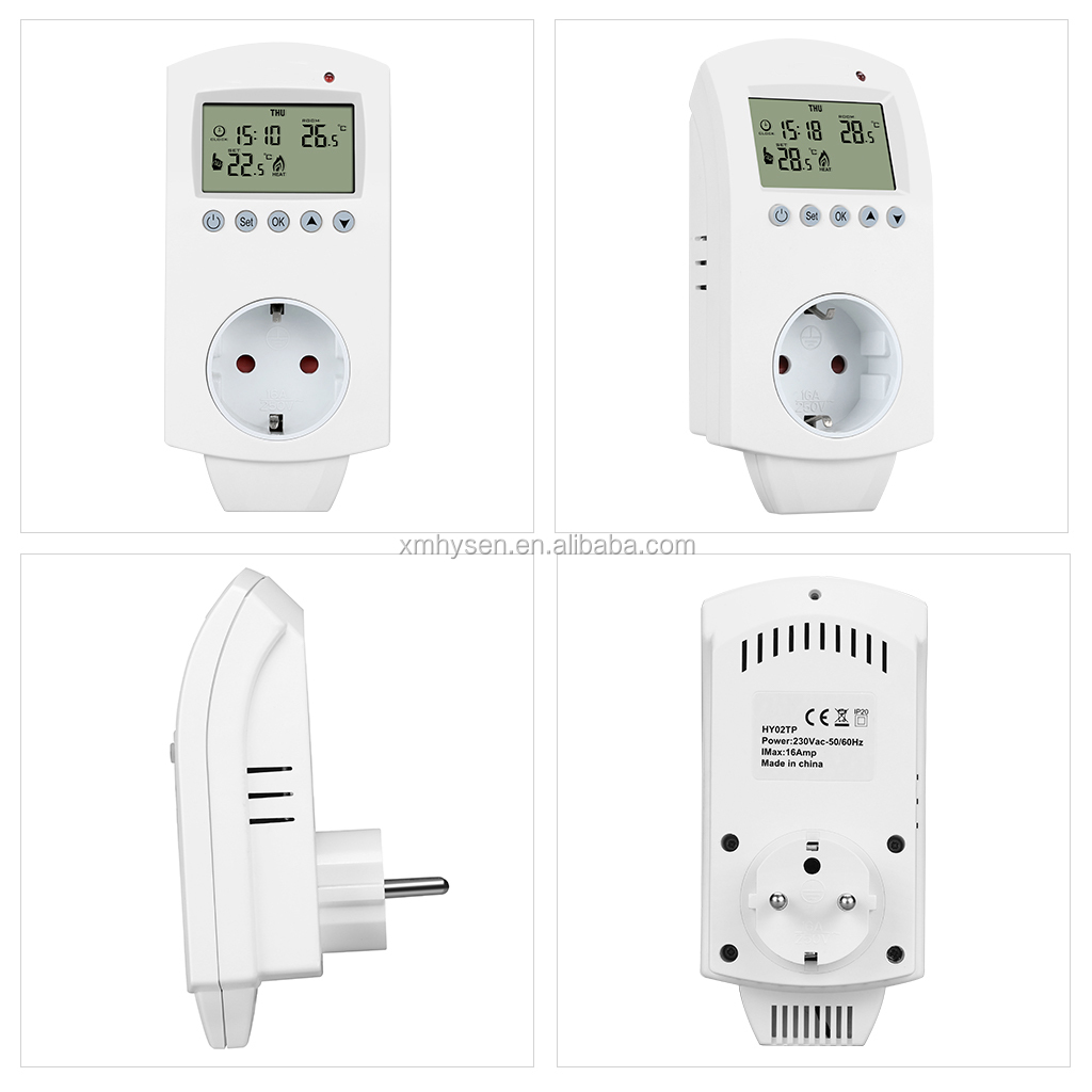 HY02TP 2017 New design with CE and ROHS Plug In Electronic 16A Thermostat Socket