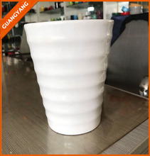 zibo best selling popular modern customized embossed white ceramic v shape flower vase for table decoration printed mugs
