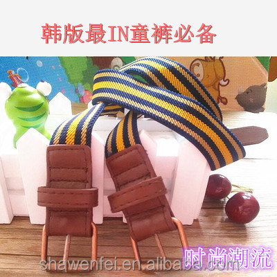 2017 Fashion stripe colors elastic belts with both PU ends