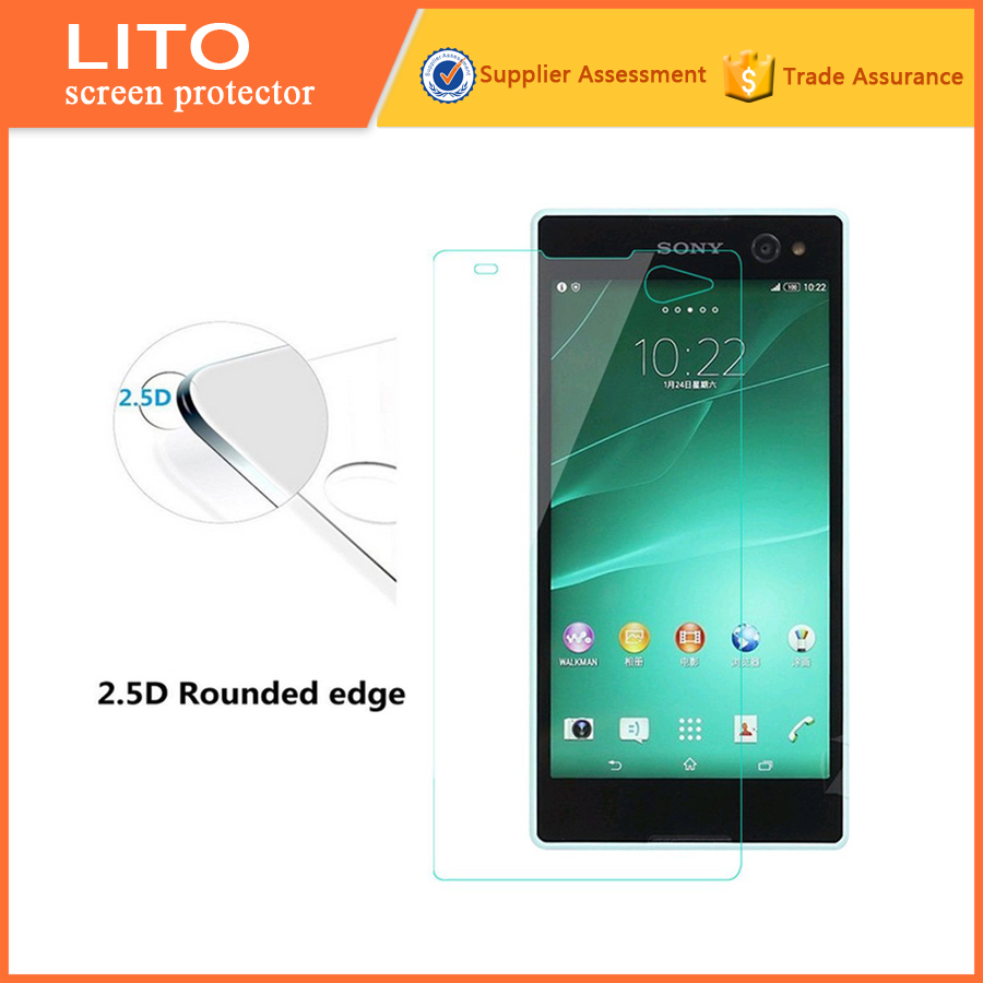 Acrylic tempered glass screen protector for sony xperia c5 anti-fingerprint toughened glass membrane