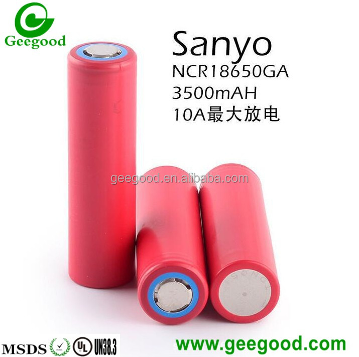 High capacity high amp power battery Sanyo 18650GA 3500mAh 10A 18650 batteries