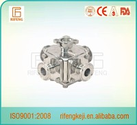 Sanitary Clamped Four Way Ball Valve