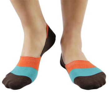 China sock manufacturer wholesale custom man invisible multi color stripe cotton ankle sports boat socks no show socks