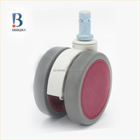ISO certified classical 64mm purple red TPR &PU furniture appliance caster wheels for refrigerator