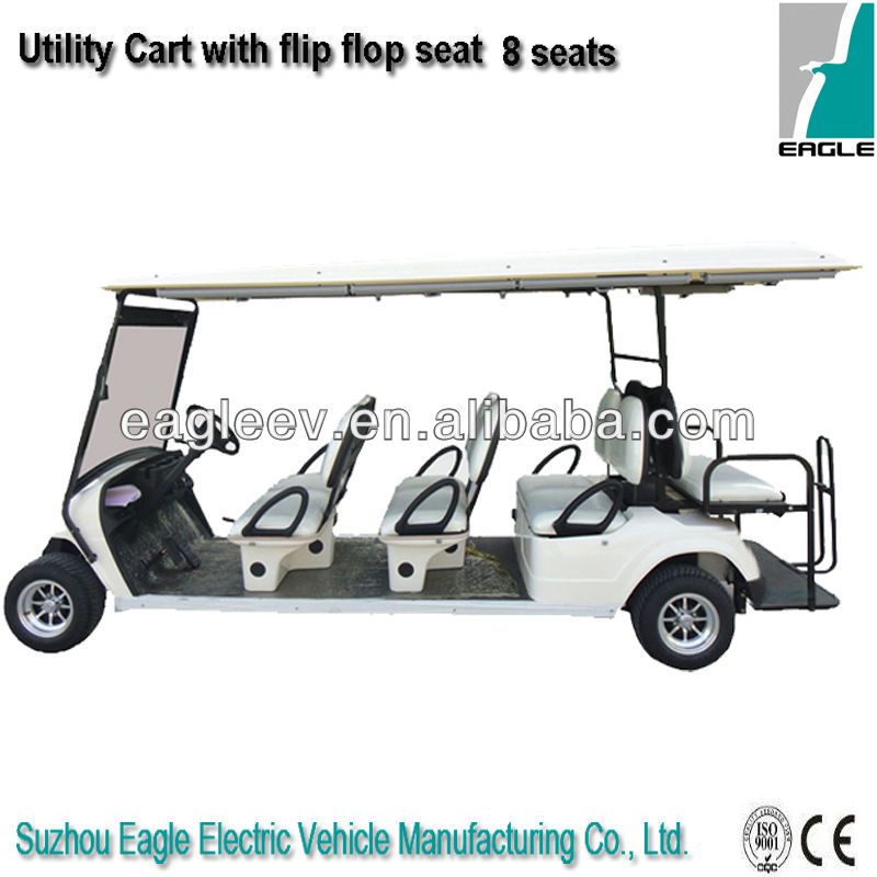 8 passengers electric golf utility vehicle, with rear flip flop seat, CE approved, EG2068KSZ
