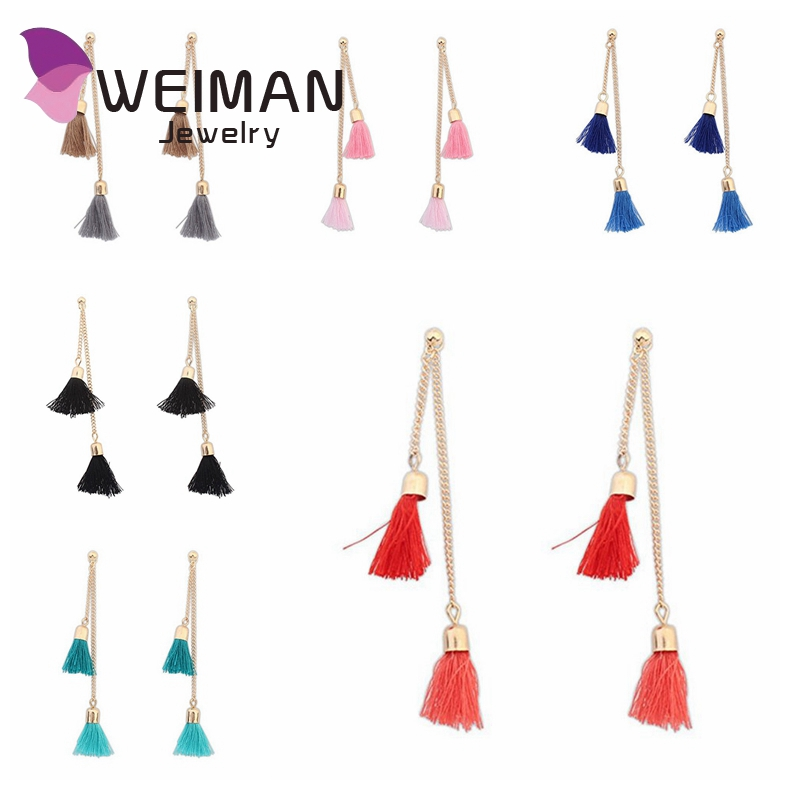 Hot selling wholesale handmade long tassel earrings for women