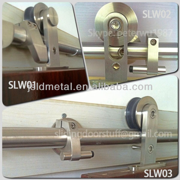 6.6 FT - Euro Stainless steel wood barn sliding door and hardware