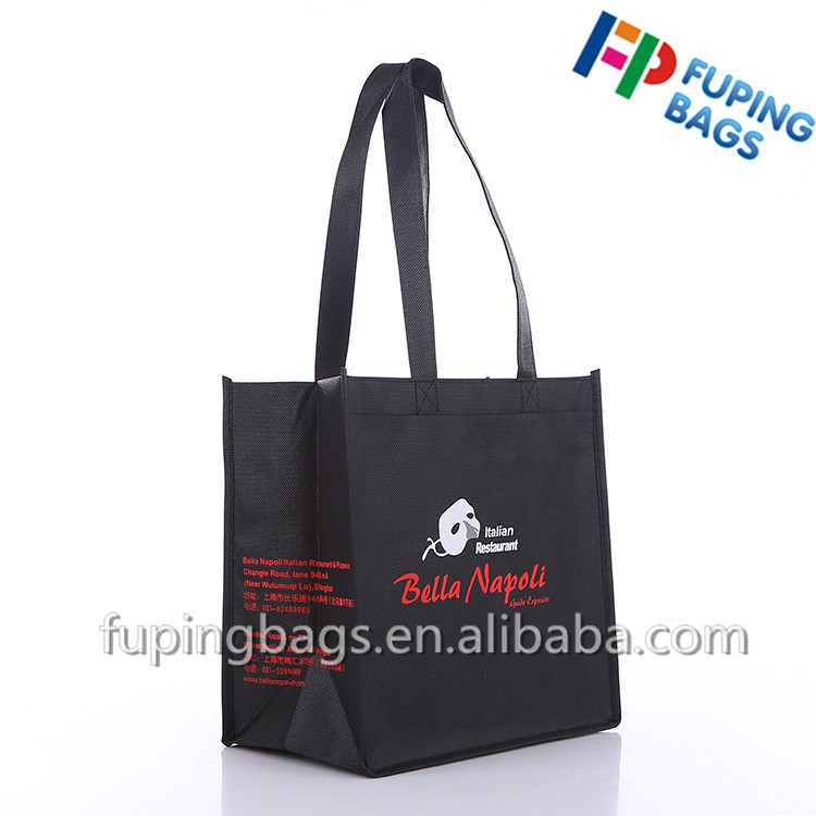 customized non woven gift carry bags / small shopping bag with cartoon logo printing