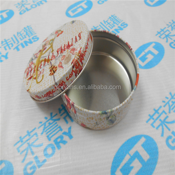 Pretty Small Round Shape Tin Box for Lip Balm Container