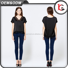 new arrival latest fashion short sleeve girls fancy top black lace satin v neck ladies blouse design images