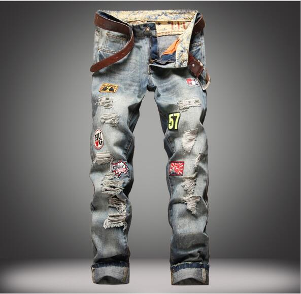 OEM good quality embroidery patch mens denim printing torn jeans negotiate price