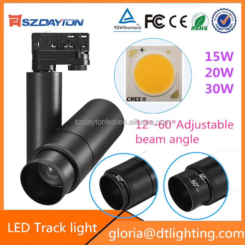 NEW Products 100LM/W adjustable focus 2/3/4 wires adaptor global led track light 20w 30w