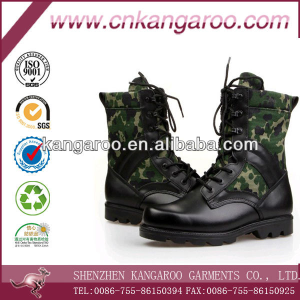 Camouflage contrast cow high leather short ankle-length water proof military combat boots