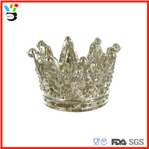 mercury glass queen crown shaped glass tealight holder